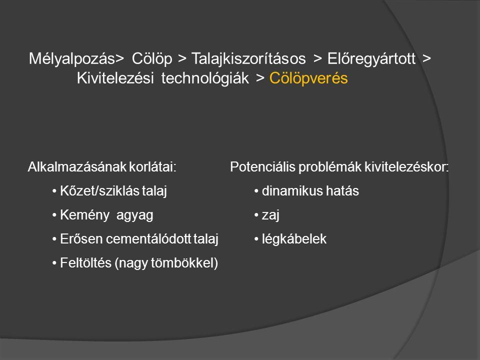 Mélyalpozás> Cölöp > Talajkiszorításos > Előregyártott > Kivitelezési technológiák > Cölöpverés Alkalmazásának korlátai: Kőzet/sziklás talaj Kemény ag