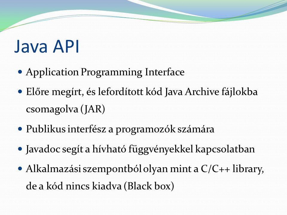 Java API Application Programming Interface Előre megírt, és lefordított kód Java Archive fájlokba csomagolva (JAR) Publikus interfész a programozók számára Javadoc segít a hívható függvényekkel kapcsolatban Alkalmazási szempontból olyan mint a C/C++ library, de a kód nincs kiadva (Black box)