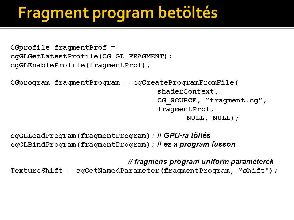 CGprofile fragmentProf = cgGLGetLatestProfile(CG_GL_FRAGMENT); cgGLEnableProfile(fragmentProf); CGprogram fragmentProgram = cgCreateProgramFromFile( shaderContext, CG_SOURCE, fragment.cg , fragmentProf, NULL, NULL); cgGLLoadProgram(fragmentProgram); // GPU-ra töltés cgGLBindProgram(fragmentProgram); // ez a program fusson // fragmens program uniform paraméterek TextureShift = cgGetNamedParameter(fragmentProgram, shift );