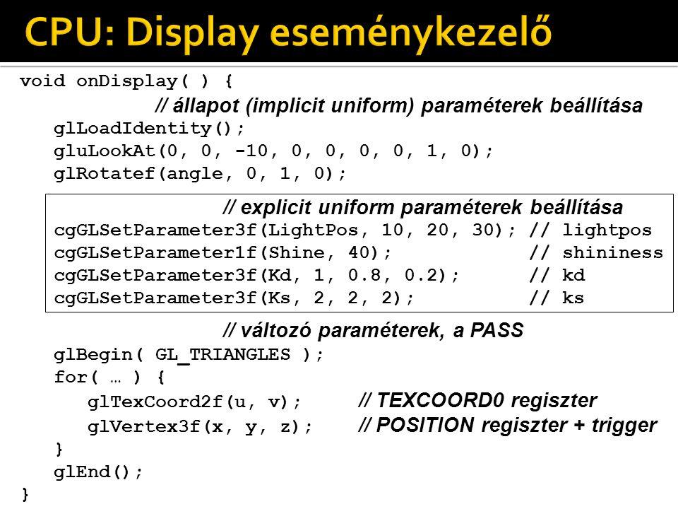 void onDisplay( ) { // állapot (implicit uniform) paraméterek beállítása glLoadIdentity(); gluLookAt(0, 0, -10, 0, 0, 0, 0, 1, 0); glRotatef(angle, 0, 1, 0); // explicit uniform paraméterek beállítása cgGLSetParameter3f(LightPos, 10, 20, 30); // lightpos cgGLSetParameter1f(Shine, 40); // shininess cgGLSetParameter3f(Kd, 1, 0.8, 0.2); // kd cgGLSetParameter3f(Ks, 2, 2, 2); // ks // változó paraméterek, a PASS glBegin( GL_TRIANGLES ); for( … ) { glTexCoord2f(u, v); // TEXCOORD0 regiszter glVertex3f(x, y, z); // POSITION regiszter + trigger } glEnd(); }