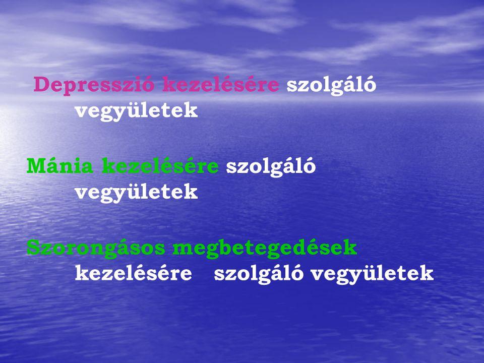 Depresszió kezelésére szolgáló vegyületek Szorongásos megbetegedések kezelésére szolgáló vegyületek Mánia kezelésére szolgáló vegyületek