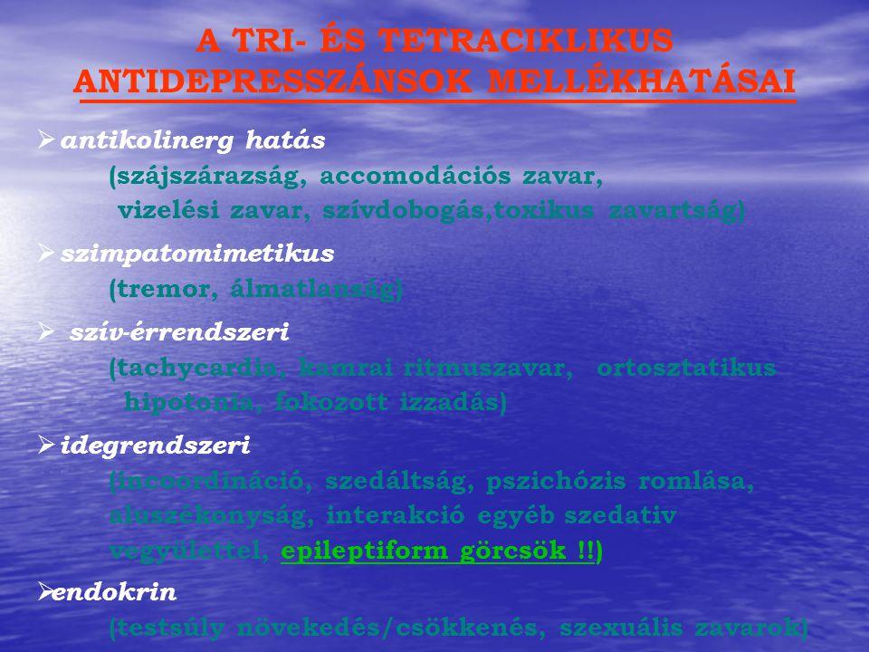  antikolinerg hatás (szájszárazság, accomodációs zavar, vizelési zavar, szívdobogás,toxikus zavartság) A TRI- ÉS TETRACIKLIKUS ANTIDEPRESSZÁNSOK MELL