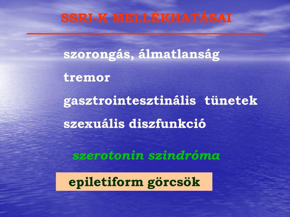 szorongás, álmatlanság tremor gasztrointesztinális tünetek szexuális diszfunkció szerotonin szindróma SSRI-K MELLÉKHATÁSAI epiletiform görcsök