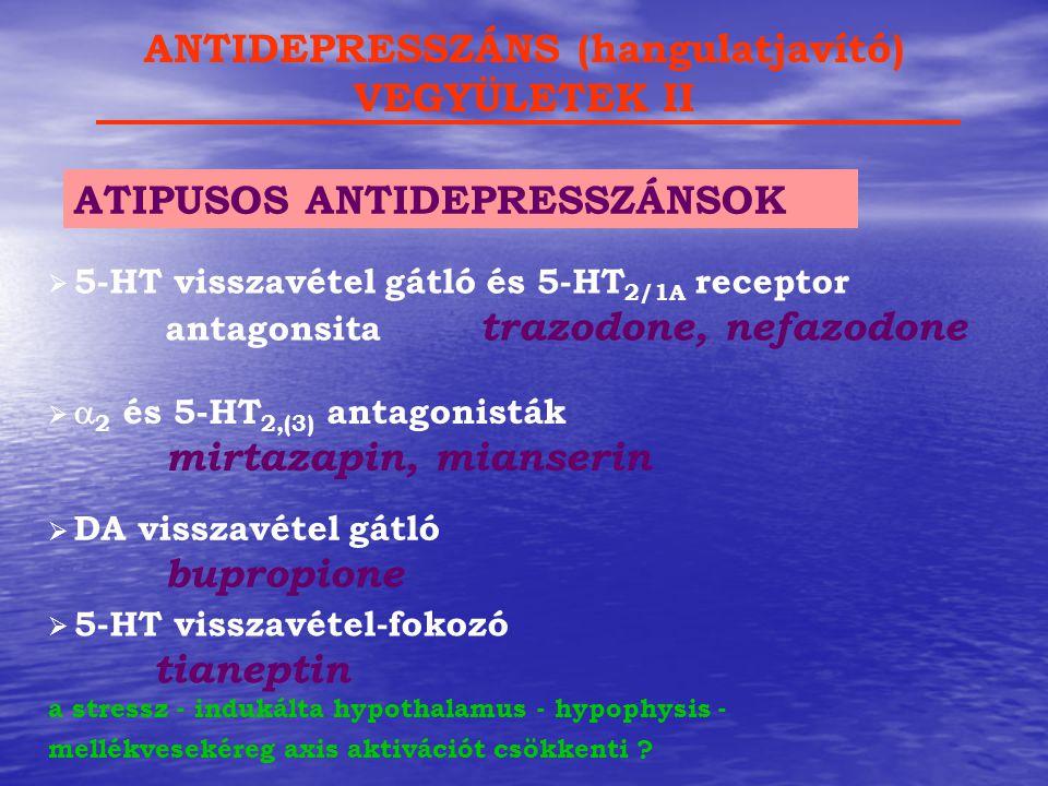   2 és 5-HT 2,(3) antagonisták mirtazapin, mianserin ATIPUSOS ANTIDEPRESSZÁNSOK ANTIDEPRESSZÁNS (hangulatjavító) VEGYÜLETEK II  5-HT visszavétel-fo