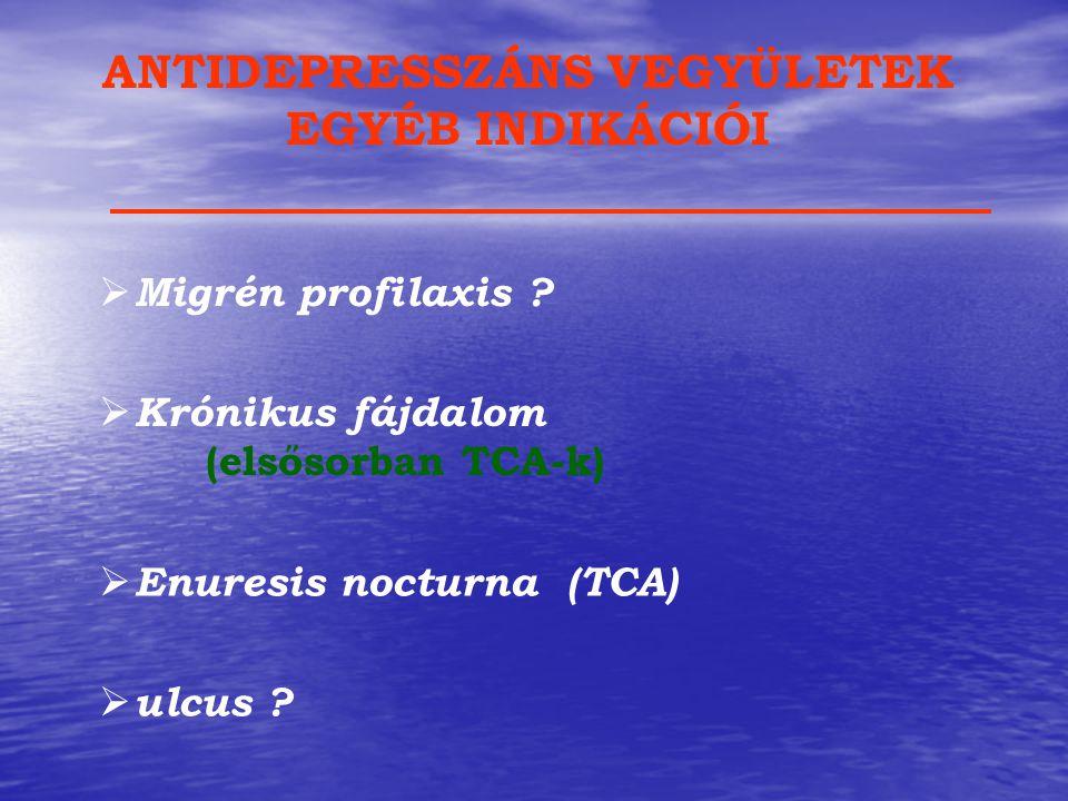 ANTIDEPRESSZÁNS VEGYÜLETEK EGYÉB INDIKÁCIÓI  Migrén profilaxis ?  Krónikus fájdalom (elsősorban TCA-k)  Enuresis nocturna (TCA)  ulcus ?