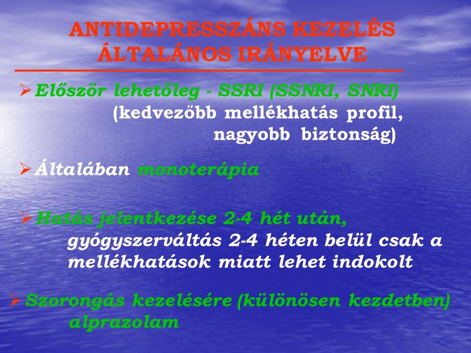  Először lehetőleg - SSRI (SSNRI, SNRI) (kedvezőbb mellékhatás profil, nagyobb biztonság) ANTIDEPRESSZÁNS KEZELÉS ÁLTALÁNOS IRÁNYELVE  Általában mon