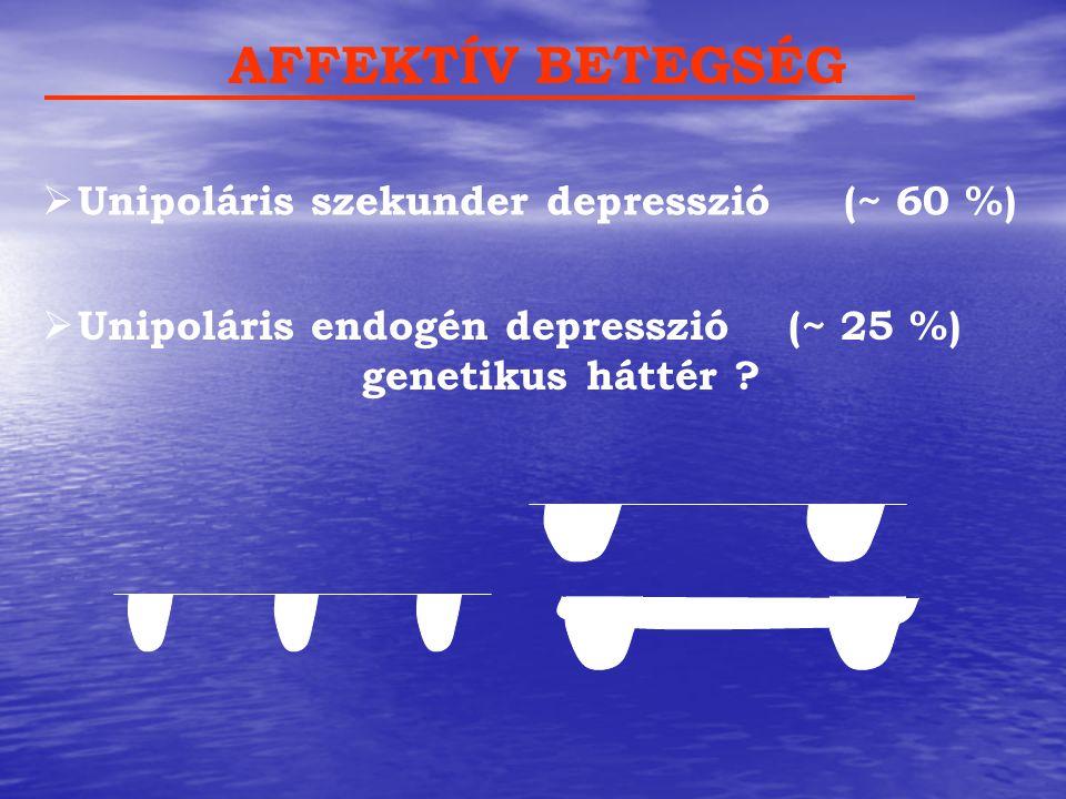 AFFEKTÍV BETEGSÉG  Unipoláris szekunder depresszió (~ 60 %)  Unipoláris endogén depresszió(~ 25 %) genetikus háttér ?
