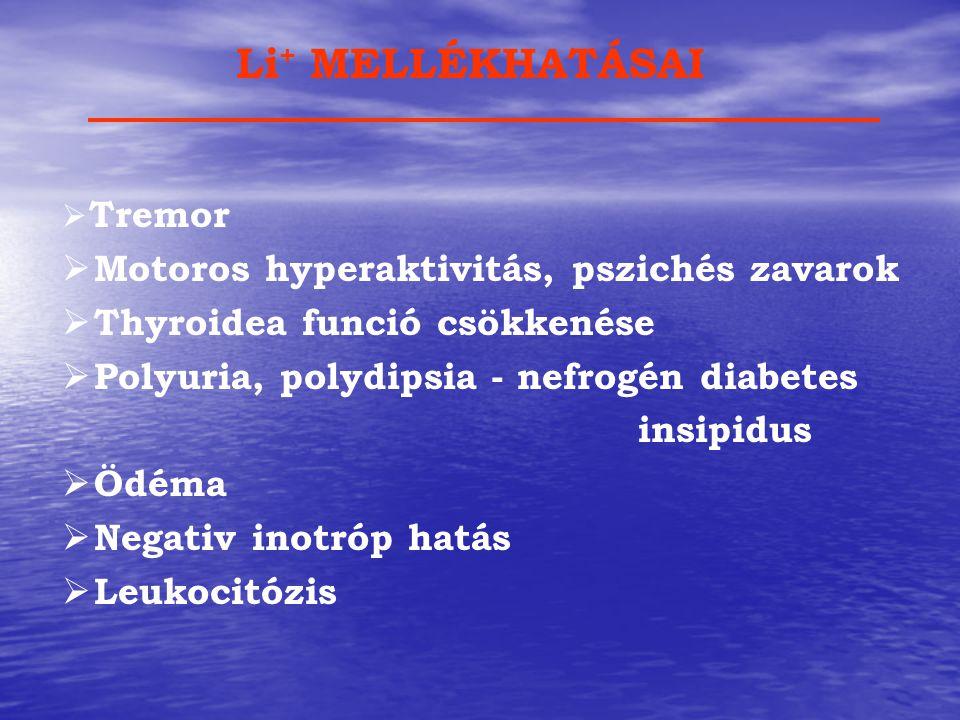  Tremor  Motoros hyperaktivitás, pszichés zavarok  Thyroidea funció csökkenése  Polyuria, polydipsia - nefrogén diabetes insipidus  Ödéma  Negat