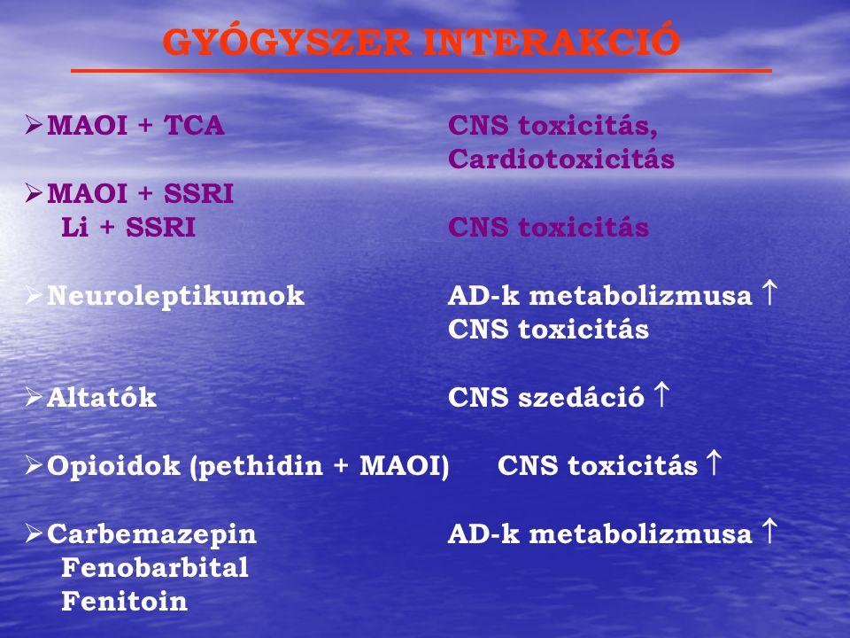  MAOI + TCACNS toxicitás, Cardiotoxicitás  MAOI + SSRI Li + SSRICNS toxicitás  NeuroleptikumokAD-k metabolizmusa  CNS toxicitás  AltatókCNS szedá