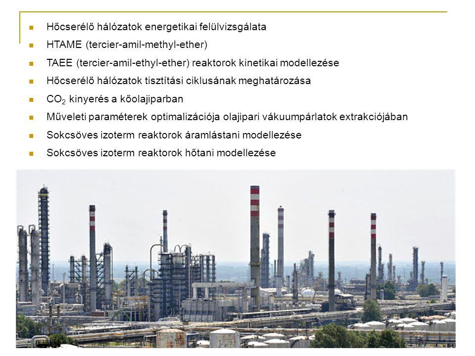 Hőcserélő hálózatok energetikai felülvizsgálata HTAME (tercier-amil-methyl-ether) TAEE (tercier-amil-ethyl-ether) reaktorok kinetikai modellezése Hőcserélő hálózatok tisztítási ciklusának meghatározása CO 2 kinyerés a kőolajiparban Műveleti paraméterek optimalizációja olajipari vákuumpárlatok extrakciójában Sokcsöves izoterm reaktorok áramlástani modellezése Sokcsöves izoterm reaktorok hőtani modellezése