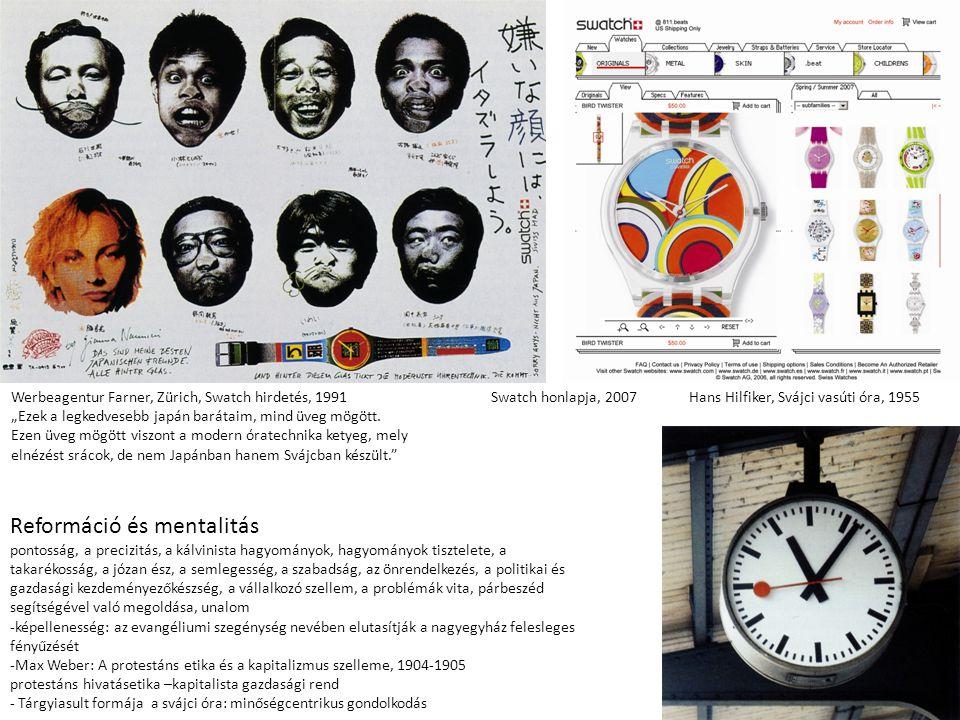 """Hans Hilfiker, Svájci vasúti óra, 1955 Werbeagentur Farner, Zürich, Swatch hirdetés, 1991 """"Ezek a legkedvesebb japán barátaim, mind üveg mögött."""