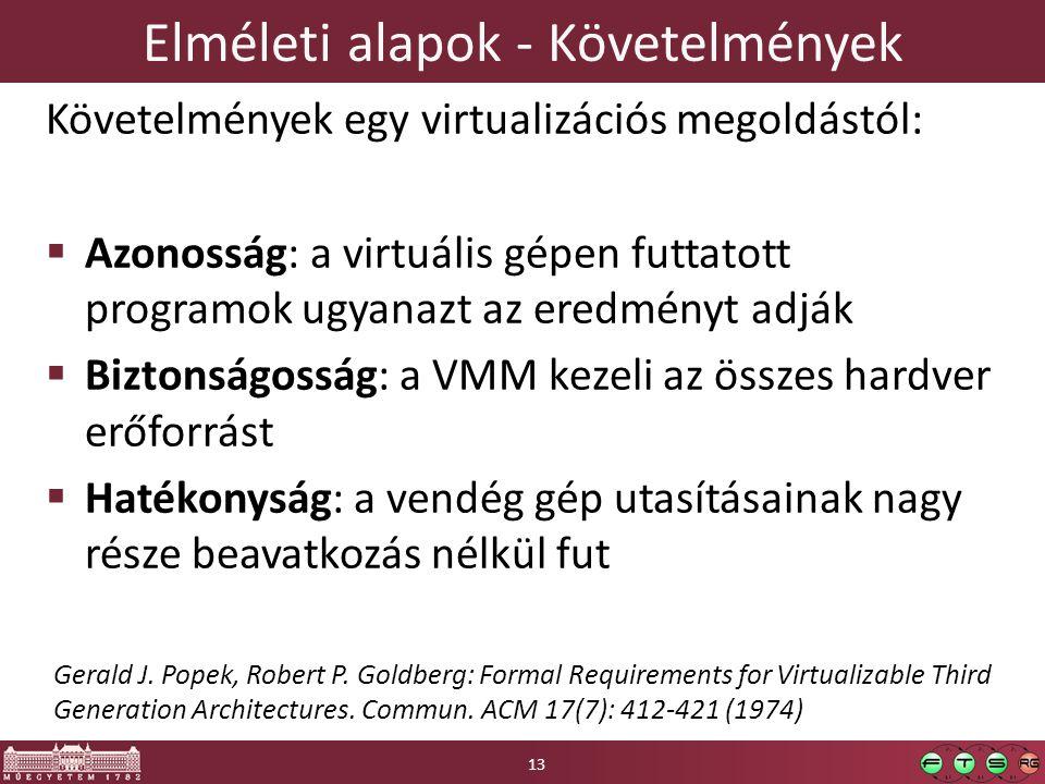 Elméleti alapok - Követelmények Követelmények egy virtualizációs megoldástól:  Azonosság: a virtuális gépen futtatott programok ugyanazt az eredményt adják  Biztonságosság: a VMM kezeli az összes hardver erőforrást  Hatékonyság: a vendég gép utasításainak nagy része beavatkozás nélkül fut Gerald J.