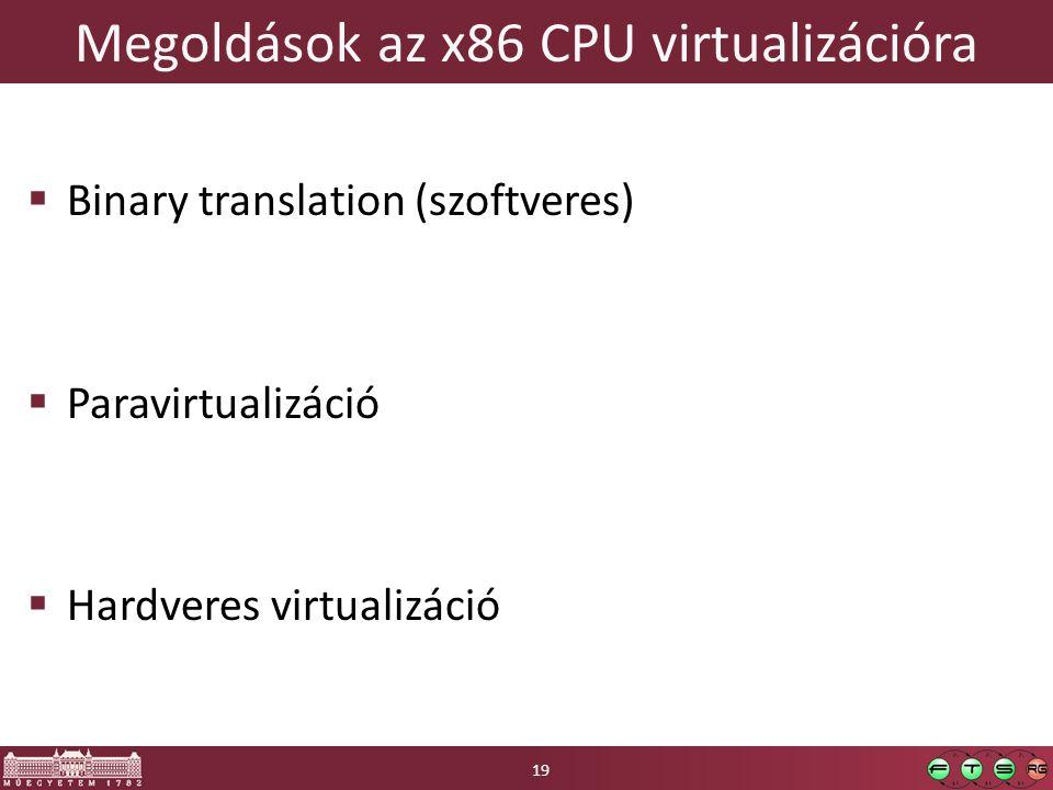 Megoldások az x86 CPU virtualizációra  Binary translation (szoftveres)  Paravirtualizáció  Hardveres virtualizáció 19