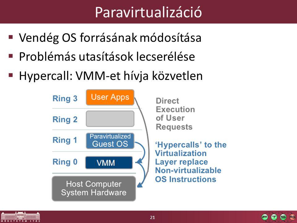 Paravirtualizáció  Vendég OS forrásának módosítása  Problémás utasítások lecserélése  Hypercall: VMM-et hívja közvetlen 21