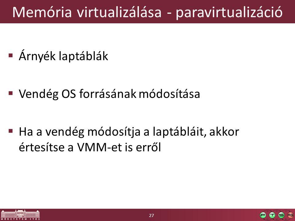 Memória virtualizálása - paravirtualizáció  Árnyék laptáblák  Vendég OS forrásának módosítása  Ha a vendég módosítja a laptábláit, akkor értesítse a VMM-et is erről 27