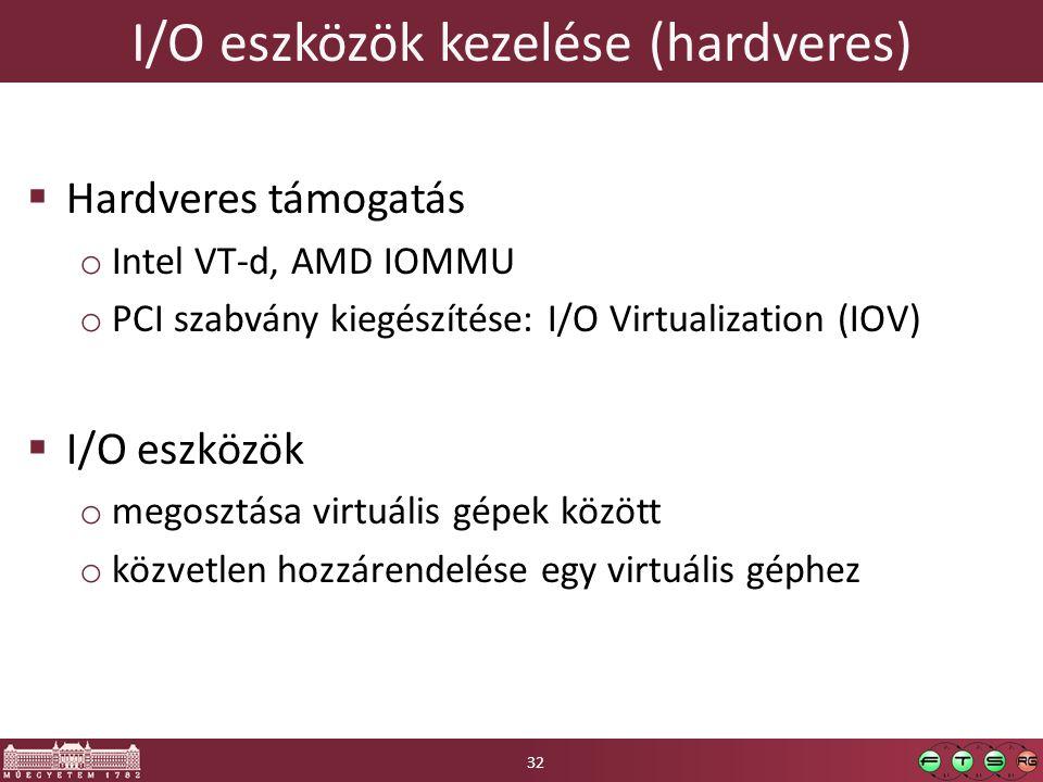 I/O eszközök kezelése (hardveres)  Hardveres támogatás o Intel VT-d, AMD IOMMU o PCI szabvány kiegészítése: I/O Virtualization (IOV)  I/O eszközök o megosztása virtuális gépek között o közvetlen hozzárendelése egy virtuális géphez 32