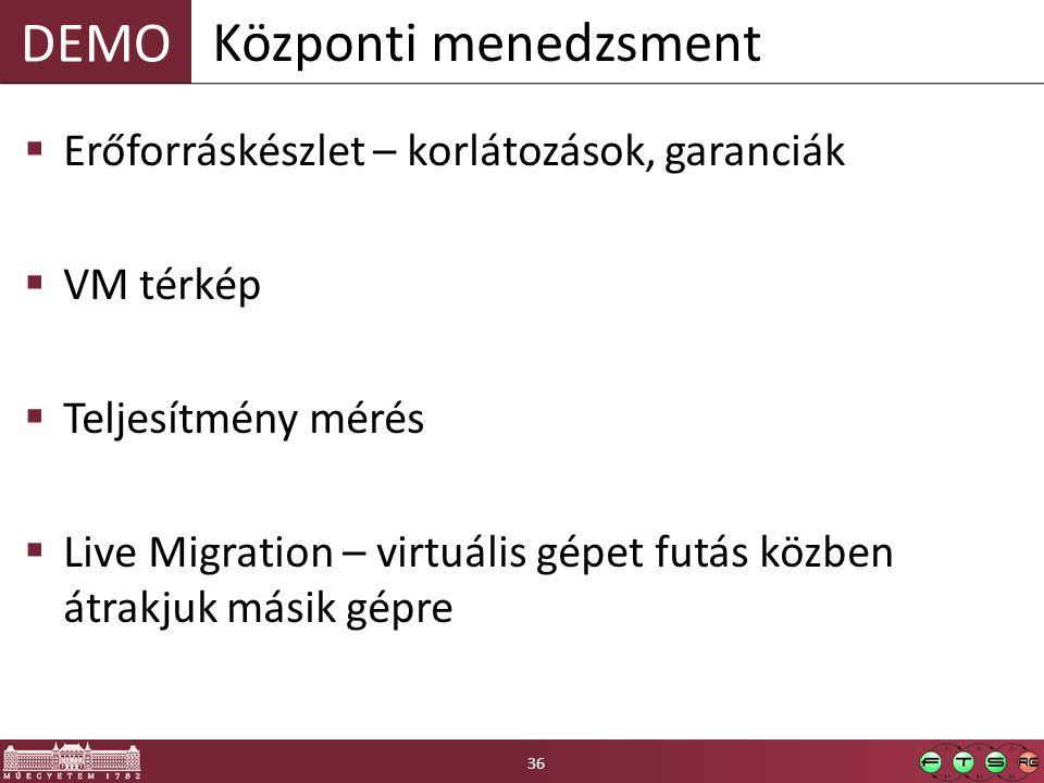 DEMO  Erőforráskészlet – korlátozások, garanciák  VM térkép  Teljesítmény mérés  Live Migration – virtuális gépet futás közben átrakjuk másik gépre Központi menedzsment 36