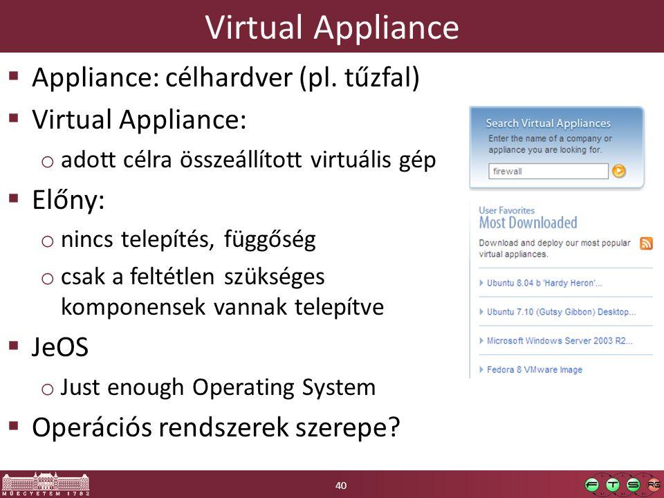 Virtual Appliance  Appliance: célhardver (pl.