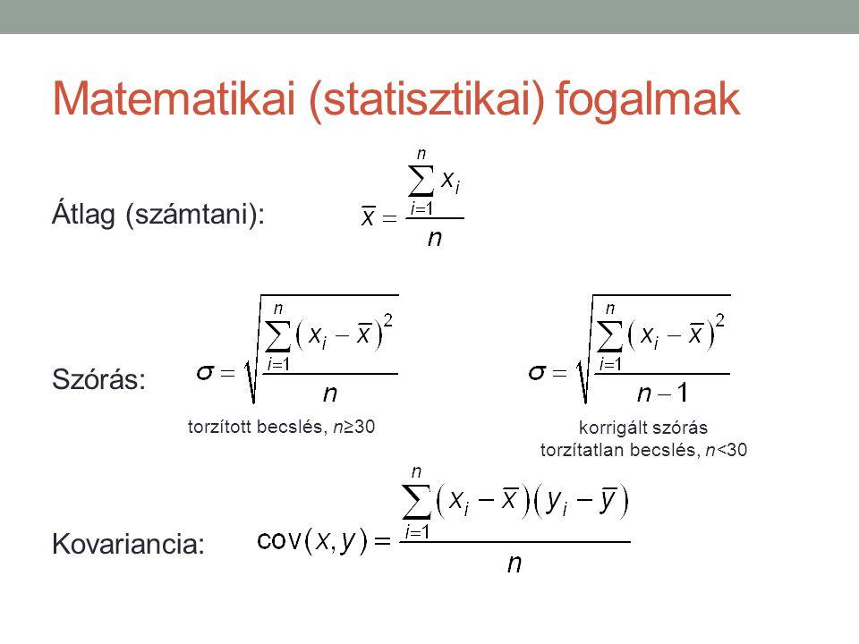 Matematikai (statisztikai) fogalmak Átlag (számtani): Szórás: Kovariancia: torzított becslés, n≥30 korrigált szórás torzítatlan becslés, n<30