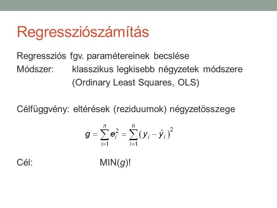 Regressziószámítás Regressziós fgv. paramétereinek becslése Módszer:klasszikus legkisebb négyzetek módszere (Ordinary Least Squares, OLS) Célfüggvény: