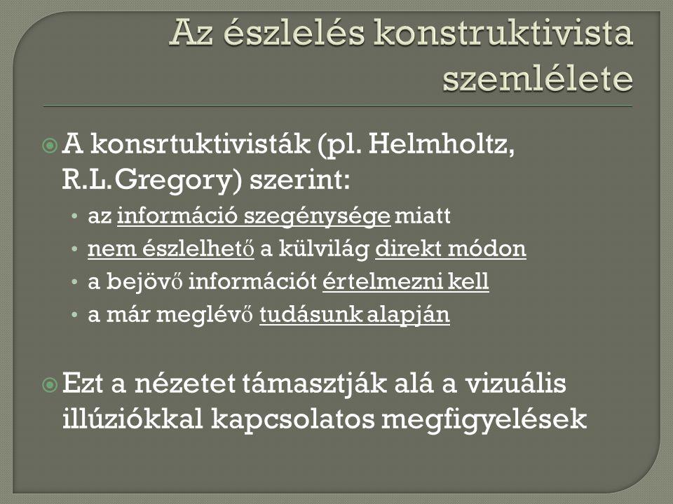  A konsrtuktivisták (pl. Helmholtz, R.L.Gregory) szerint: az információ szegénysége miatt nem észlelhet ő a külvilág direkt módon a bejöv ő informáci
