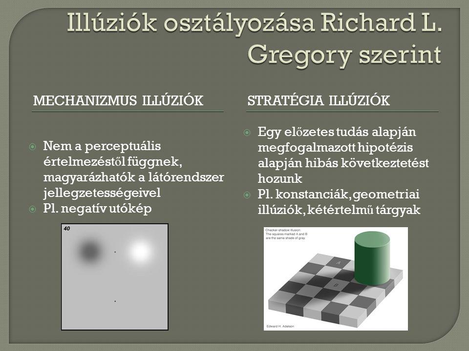 MECHANIZMUS ILLÚZIÓKSTRATÉGIA ILLÚZIÓK  Nem a perceptuális értelmezést ő l függnek, magyarázhatók a látórendszer jellegzetességeivel  Pl. negatív ut