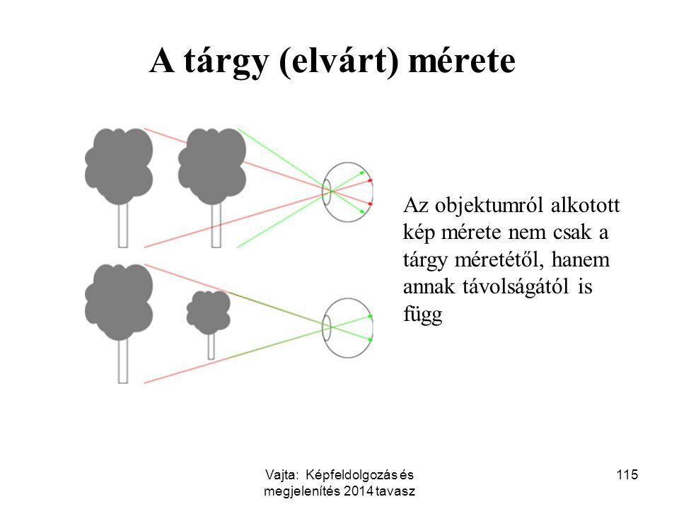 115 A tárgy (elvárt) mérete Az objektumról alkotott kép mérete nem csak a tárgy méretétől, hanem annak távolságától is függ Vajta: Képfeldolgozás és m