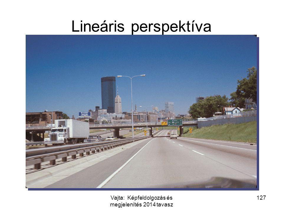 127 Lineáris perspektíva Vajta: Képfeldolgozás és megjelenítés 2014 tavasz