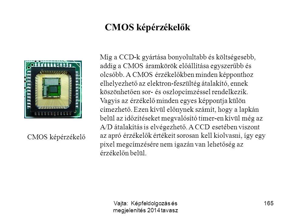 165 CMOS képérzékelő Míg a CCD-k gyártása bonyolultabb és költségesebb, addig a CMOS áramkörök előállítása egyszerűbb és olcsóbb. A CMOS érzékelőkben