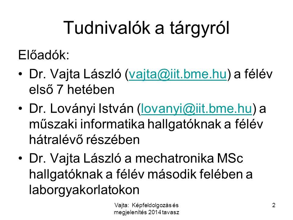 Tudnivalók a tárgyról Előadók: Dr. Vajta László (vajta@iit.bme.hu) a félév első 7 hetébenvajta@iit.bme.hu Dr. Loványi István (lovanyi@iit.bme.hu) a mű