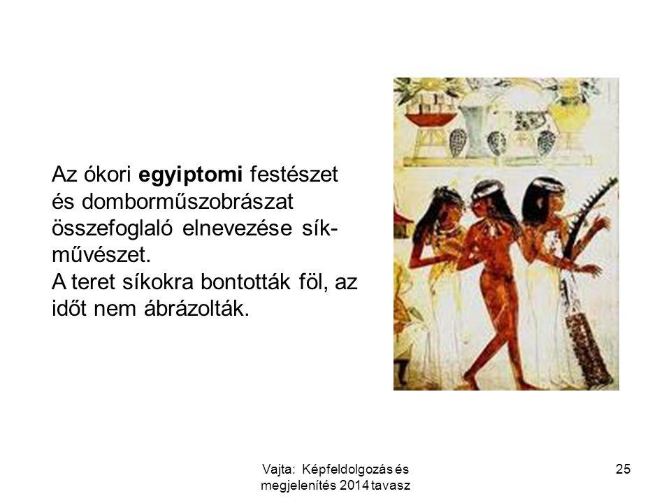 Az ókori egyiptomi festészet és domborműszobrászat összefoglaló elnevezése sík- művészet. A teret síkokra bontották föl, az időt nem ábrázolták. 25Vaj