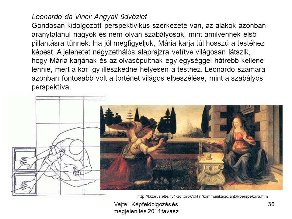 Leonardo da Vinci: Angyali üdvözlet Gondosan kidolgozott perspektivikus szerkezete van, az alakok azonban aránytalanul nagyok és nem olyan szabályosak