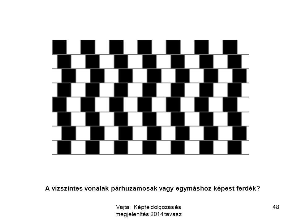 48 A vízszintes vonalak párhuzamosak vagy egymáshoz képest ferdék? Vajta: Képfeldolgozás és megjelenítés 2014 tavasz