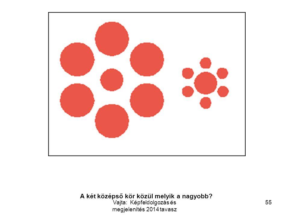 55 Which circle in the middle is bigger? A két középső kör közül melyik a nagyobb? Vajta: Képfeldolgozás és megjelenítés 2014 tavasz