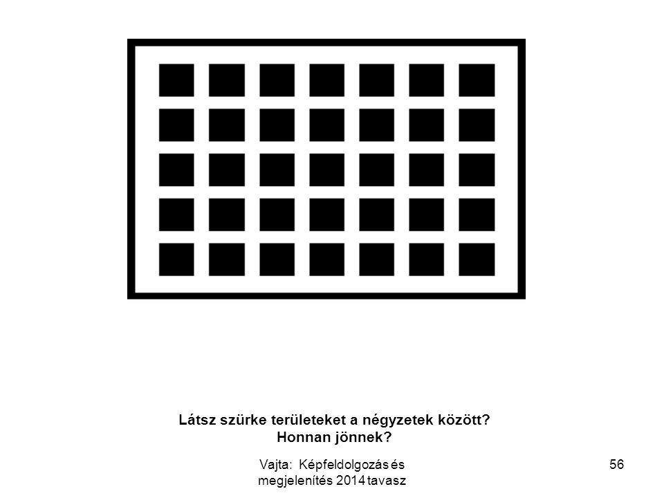 56 Látsz szürke területeket a négyzetek között? Honnan jönnek? Vajta: Képfeldolgozás és megjelenítés 2014 tavasz