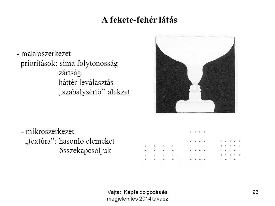 """96 A fekete-fehér látás - makroszerkezet prioritások: sima folytonosság zártság háttér leválasztás """"szabálysértő"""" alakzat - mikroszerkezet """"textúra"""":"""