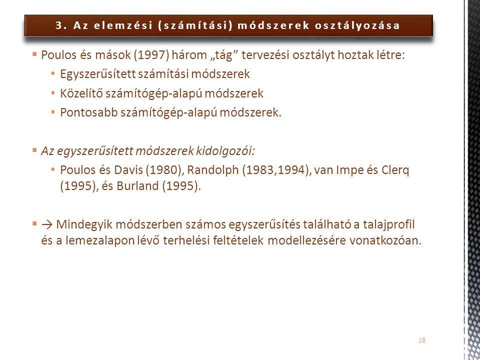 """3. Az elemzési (számítási) módszerek osztályozása  Poulos és mások (1997) három """"tág"""" tervezési osztályt hoztak létre: Egyszerűsített számítási módsz"""