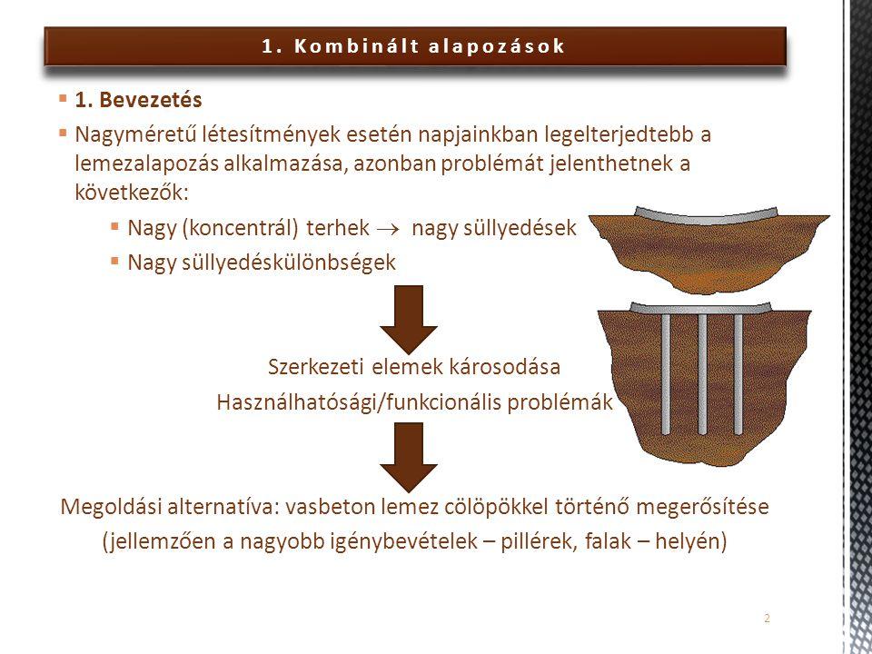 1.Kombinált alapozások  Terhelés felvétele  lemez  talpnyomás  cölöp  köpenymenti ellenáll.