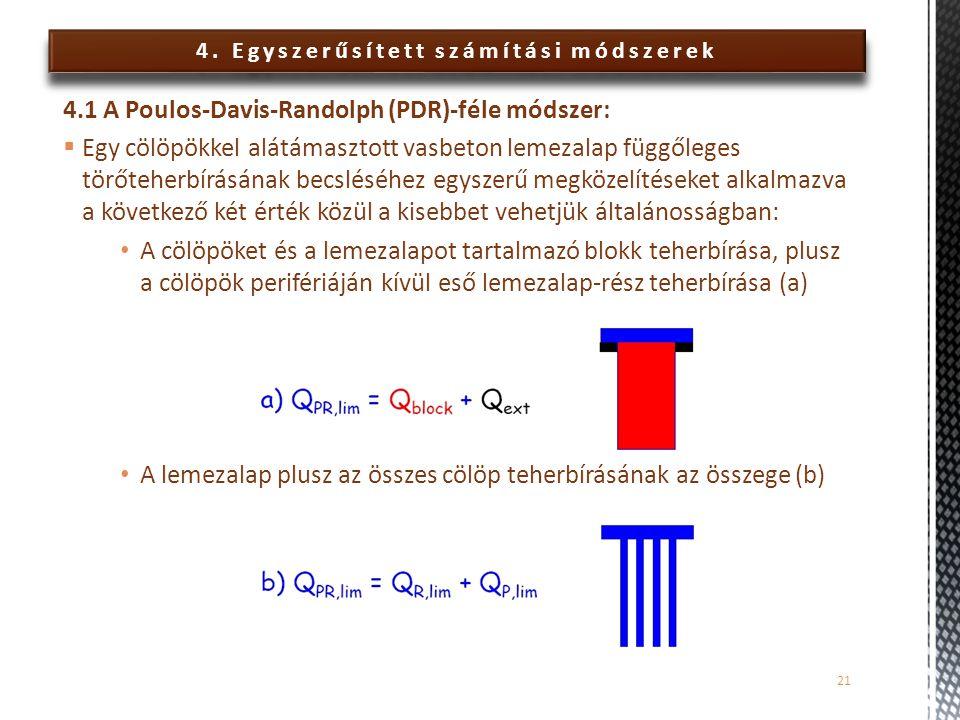 4. Egyszerűsített számítási módszerek 4.1 A Poulos-Davis-Randolph (PDR)-féle módszer:  Egy cölöpökkel alátámasztott vasbeton lemezalap függőleges tör