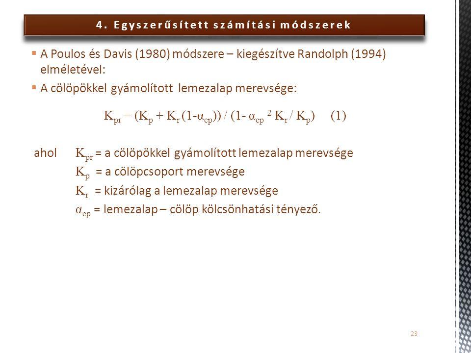 4. Egyszerűsített számítási módszerek  A Poulos és Davis (1980) módszere – kiegészítve Randolph (1994) elméletével:  A cölöpökkel gyámolított lemeza