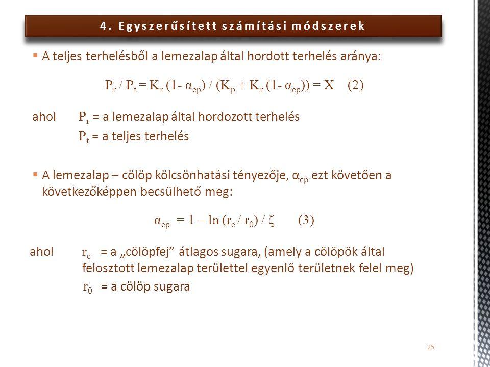 4. Egyszerűsített számítási módszerek  A teljes terhelésből a lemezalap által hordott terhelés aránya: P r / P t = K r (1- α cp ) / (K p + K r (1- α