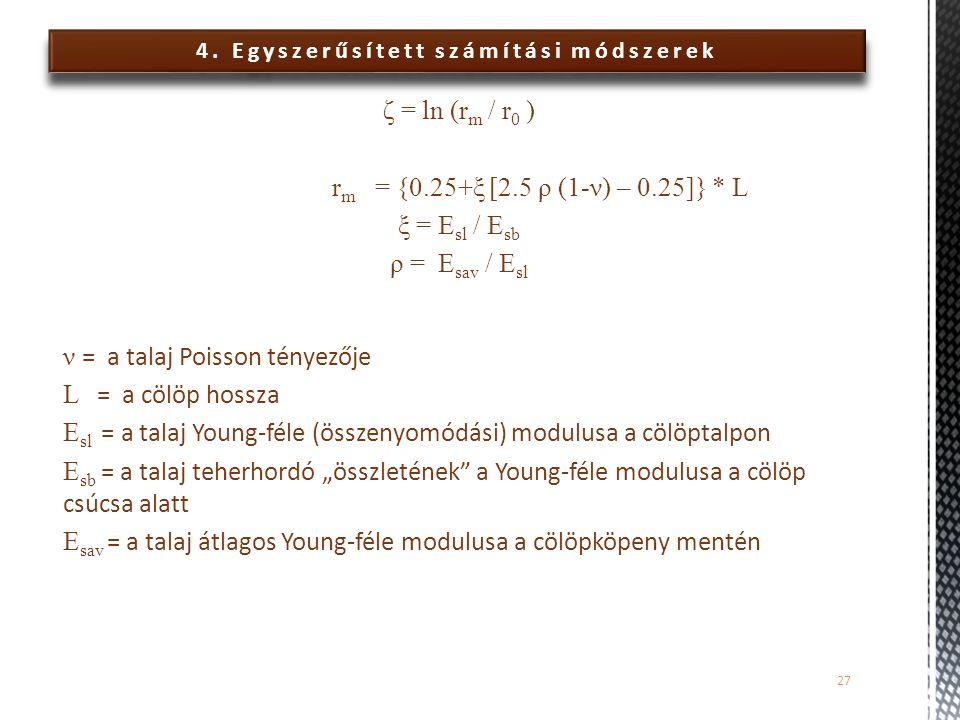 4. Egyszerűsített számítási módszerek ζ = ln (r m / r 0 ) r m = {0.25+ξ [2.5 ρ (1-ν) – 0.25]} * L ξ = E sl / E sb ρ = E sav / E sl ν = a talaj Poisson