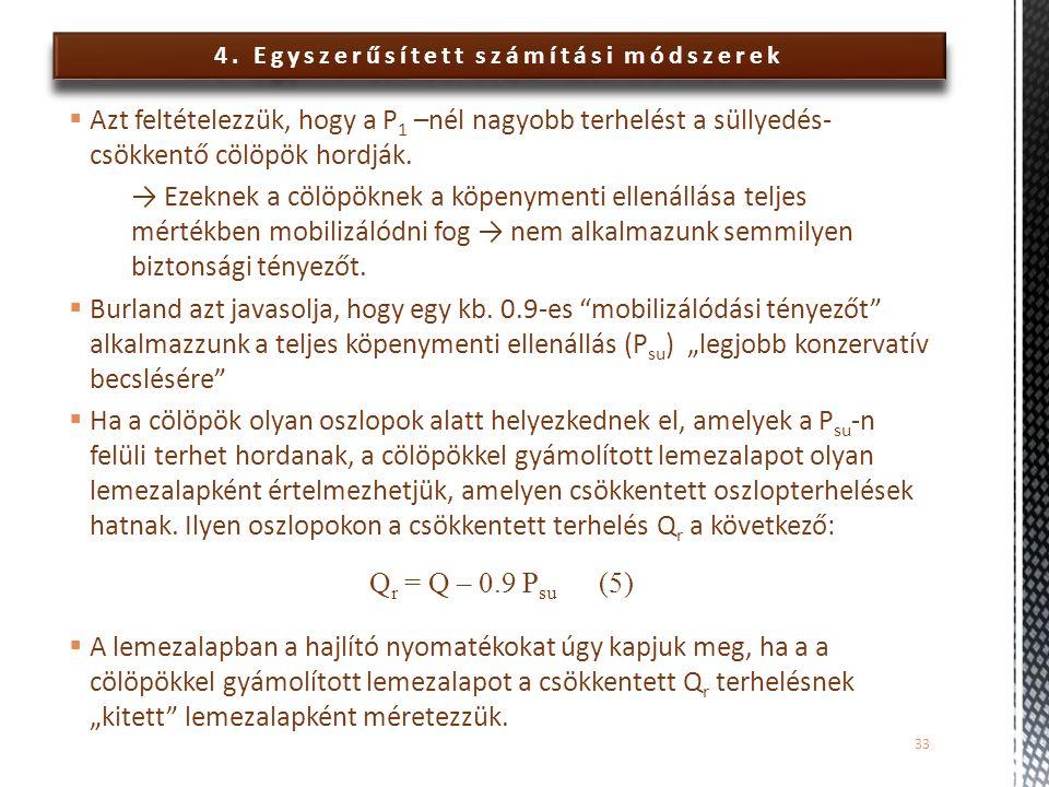 4. Egyszerűsített számítási módszerek  Azt feltételezzük, hogy a P 1 –nél nagyobb terhelést a süllyedés- csökkentő cölöpök hordják. → Ezeknek a cölöp