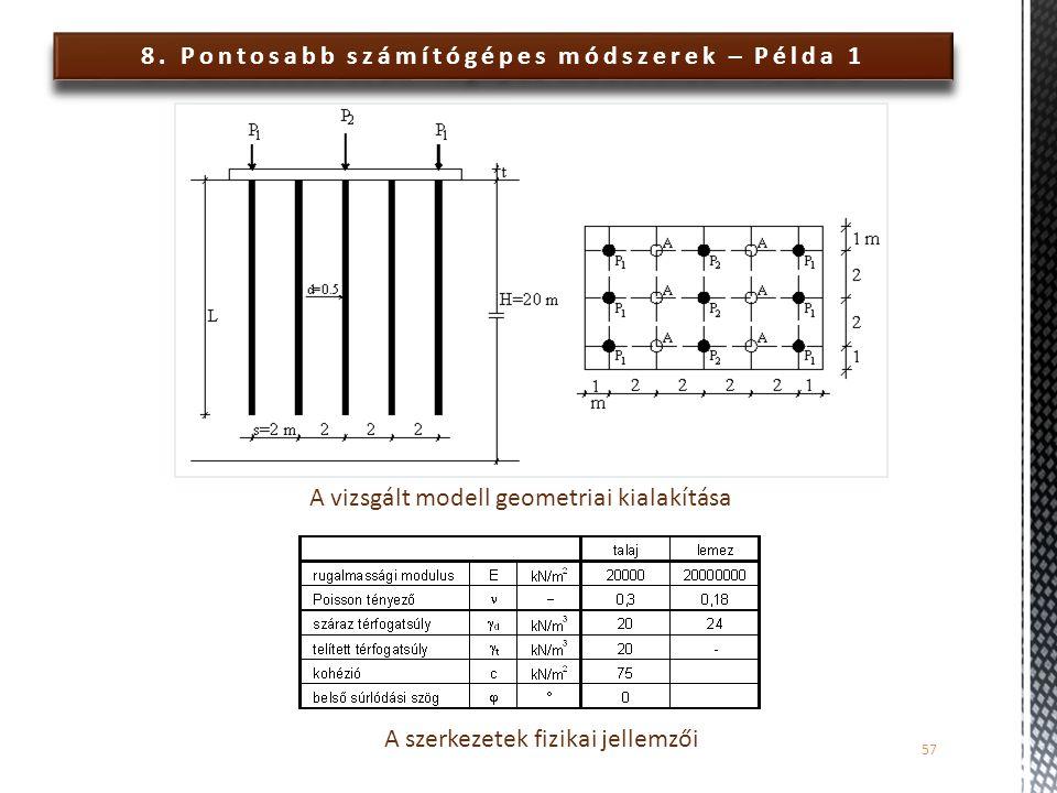 8. Pontosabb számítógépes módszerek – Példa 1 57 A vizsgált modell geometriai kialakítása A szerkezetek fizikai jellemzői