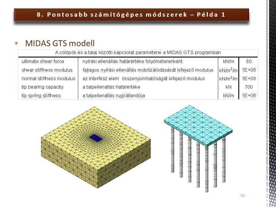 8. Pontosabb számítógépes módszerek – Példa 1 59  MIDAS GTS modell
