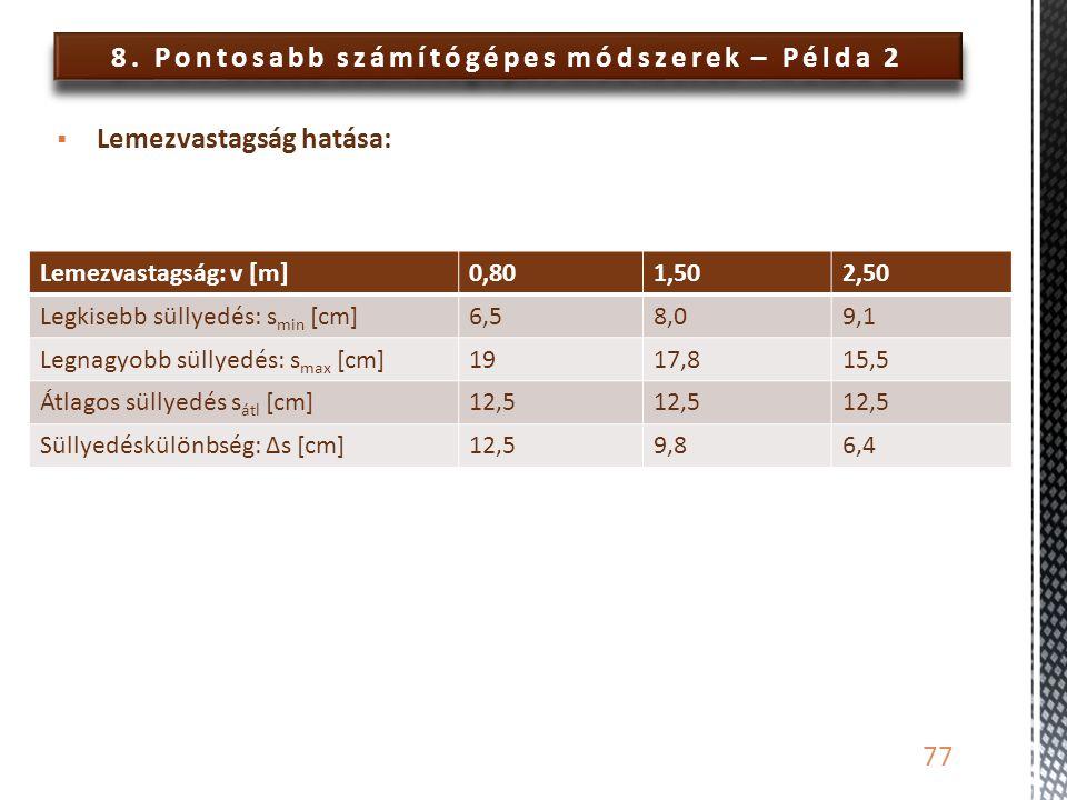 8. Pontosabb számítógépes módszerek – Példa 2 77  Lemezvastagság hatása: Lemezvastagság: v [m]0,801,502,50 Legkisebb süllyedés: s min [cm]6,58,09,1 L