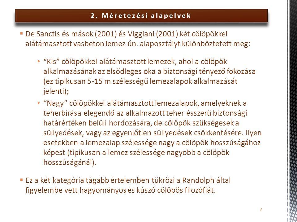 2. Méretezési alapelvek  De Sanctis és mások (2001) és Viggiani (2001) két cölöpökkel alátámasztott vasbeton lemez ún. alaposztályt különböztetett me