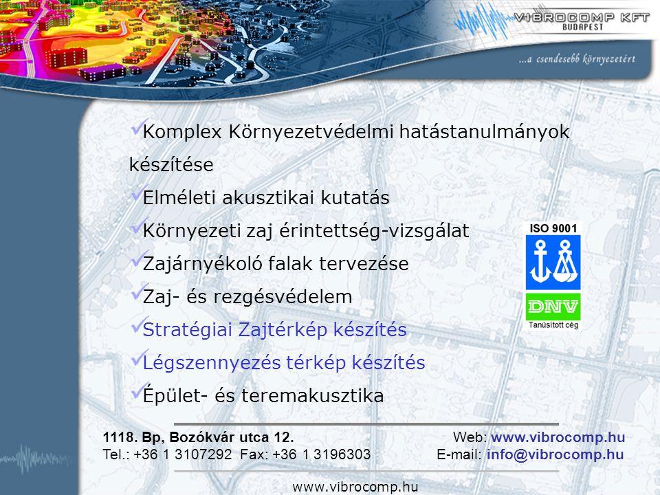 www.vibrocomp.hu Komplex Környezetvédelmi hatástanulmányok készítése Elméleti akusztikai kutatás Környezeti zaj érintettség-vizsgálat Zajárnyékoló fal