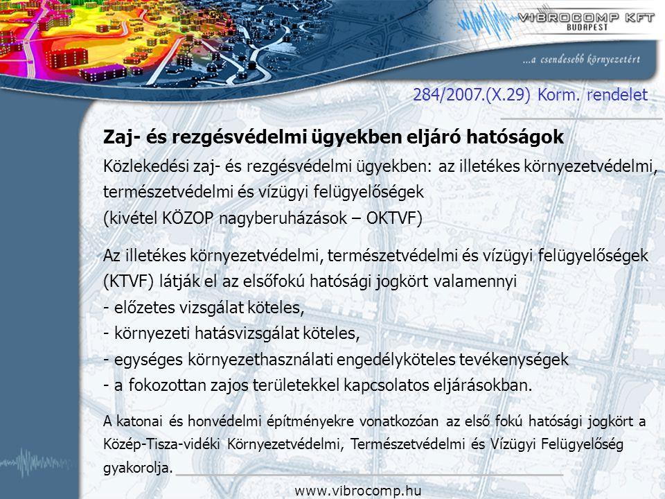www.vibrocomp.hu Zaj- és rezgésvédelmi ügyekben eljáró hatóságok Közlekedési zaj- és rezgésvédelmi ügyekben: az illetékes környezetvédelmi, természetv