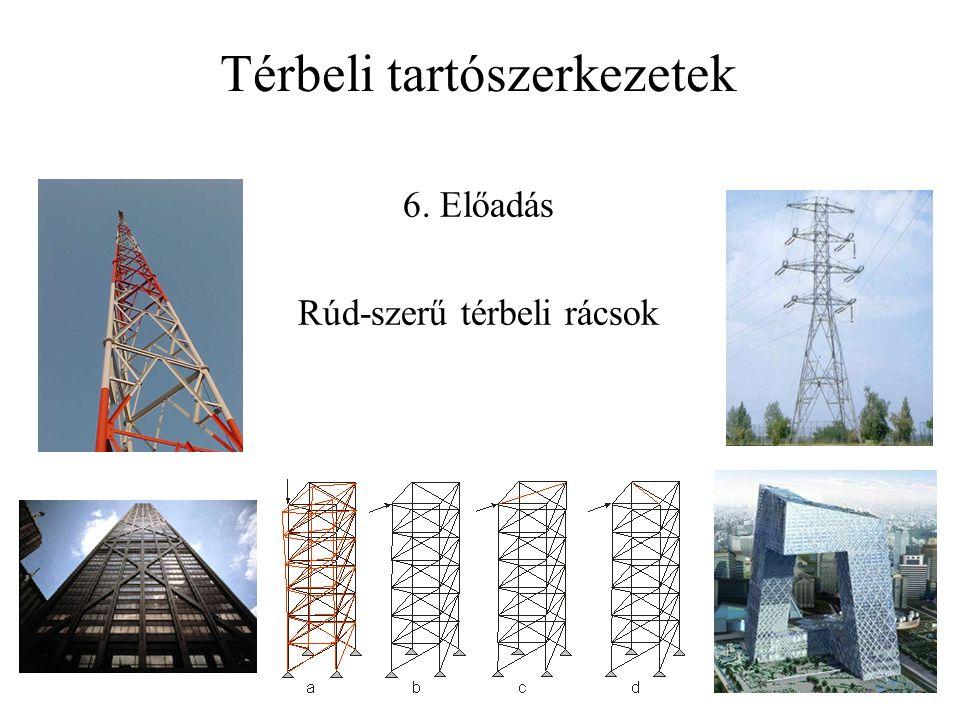 Háromszög hálózatú rácsfelületek Föppl tétele: minden csuklós kapcsolatú, zárt, konvex háromszög-poliéder hálózatú térbeli rács belsőleg statikailag határozott ha a hálózat fejlesztésnél figyelünk rá, hogy a hálózat megőrizze a konvexitását 6 kapcsolórúd segítségével a merev alzathoz kapcsolva statikailag határozott szerkezetté válik.